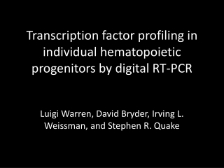 Transcription factor profiling in individual hematopoietic progenitors by digital RT-PCR