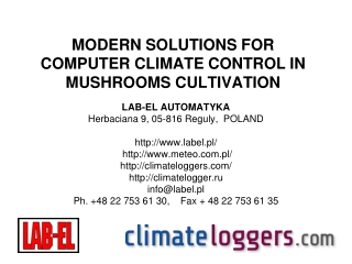 MODERN SOLUTIONS FOR COMPUTER CLIMATE CONTROL IN  MUSHROOMS CULTIVATION