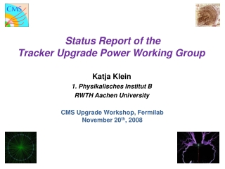Status Report of the Tracker Upgrade Power Working Group