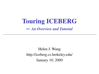 Touring ICEBERG --  An Overview and Tutorial
