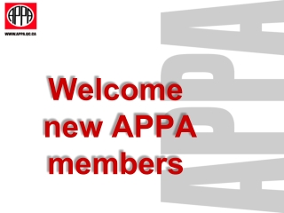 Welcome  new APPA members