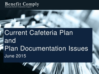 Current Cafeteria Plan and Plan Documentation  Issues June 2015
