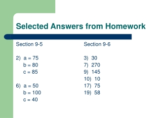 Selected Answers from Homework