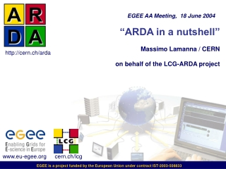 """ARDA in a nutshell""  Massimo Lamanna / CERN on behalf of the LCG-ARDA project"