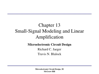 Chapter 13 Small-Signal Modeling and Linear Amplification