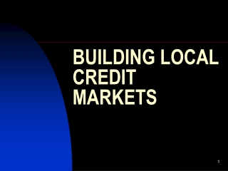 BUILDING LOCAL CREDIT MARKETS