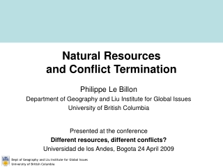 Natural Resources and Conflict Termination