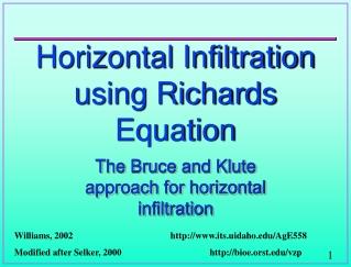 Horizontal Infiltration using Richards Equation
