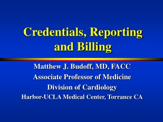 Credentials, Reporting and Billing