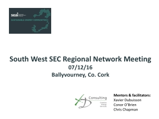 South West SEC Regional Network Meeting 07/12/16 Ballyvourney, Co. Cork