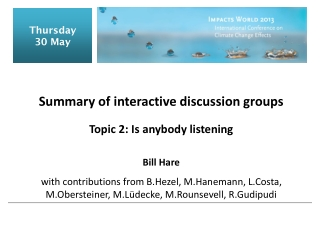 Summary of interactive discussion groups