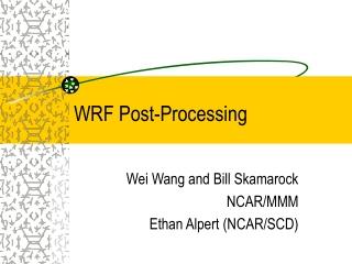 WRF Post-Processing