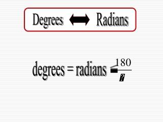 degrees = radians