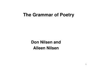 The Grammar of Poetry