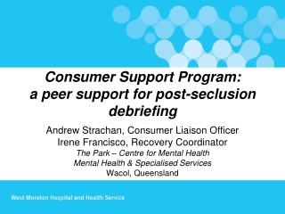 Consumer Support Program: a peer support for post-seclusion debriefing