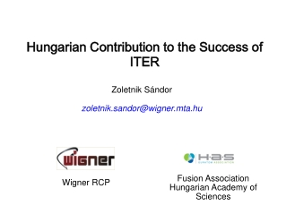 Hungarian Contribution to the Success of ITER