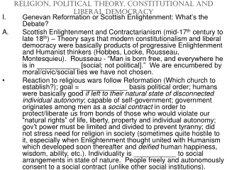 Religion, Political Theory, Constitutional and Liberal Democracy