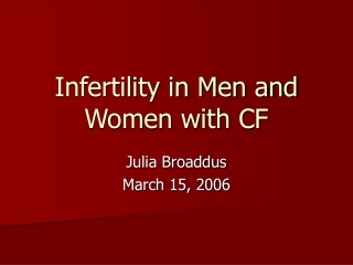 Infertility in Men and Women with CF