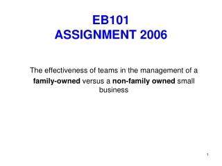 EB101  ASSIGNMENT 2006