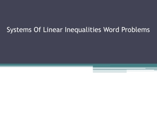 Systems Of Linear Inequalities Word Problems