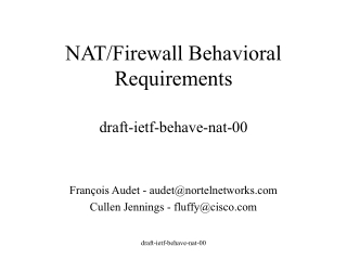 NAT/Firewall Behavioral Requirements