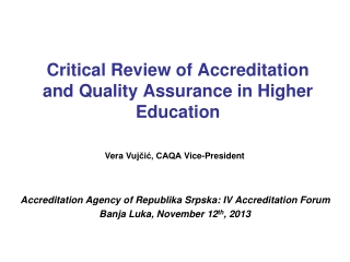 Critical Review of Accreditation and Quality Assurance in Higher Education