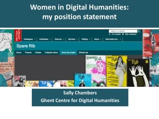 Women in Digital Humanities:  my position statement