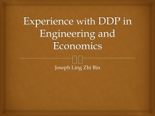 Experience  with  DDP in Engineering and Economics