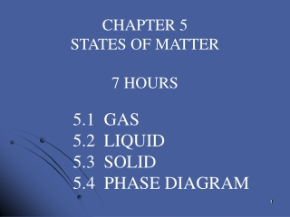 CHAPTER 5 STATES OF MATTER 7 HOURS