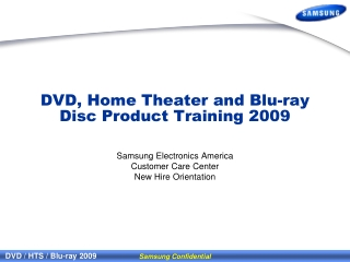 DVD, Home Theater and Blu-ray Disc Product Training 2009