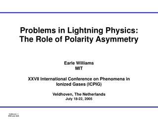 Problems in Lightning Physics: The Role of Polarity Asymmetry