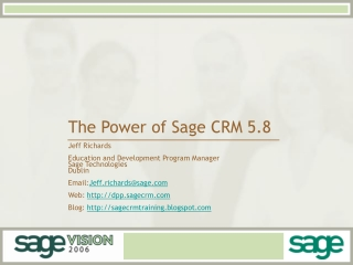 The Power of Sage CRM 5.8