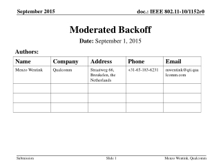 Moderated Backoff