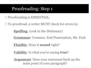 Proofreading: Step 1