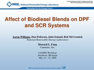 Affect of Biodiesel Blends on DPF and SCR Systems