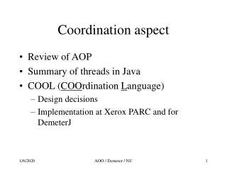 Coordination aspect