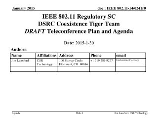 IEEE 802.11 Regulatory SC DSRC Coexistence Tiger Team DRAFT  Teleconference Plan and Agenda