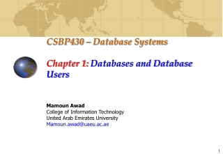 CSBP430 – Database Systems Chapter 1:  Databases and Database Users