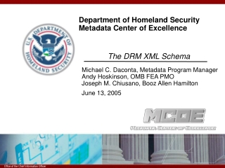 Department of Homeland Security Metadata Center of Excellence