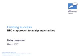 Funding success NPC's approach to analysing charities