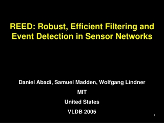 REED: Robust, Efficient Filtering and Event Detection in Sensor Networks