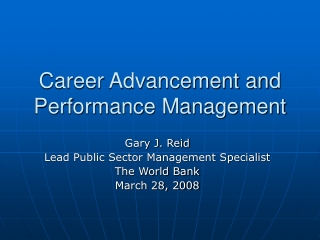 Career Advancement and Performance Management