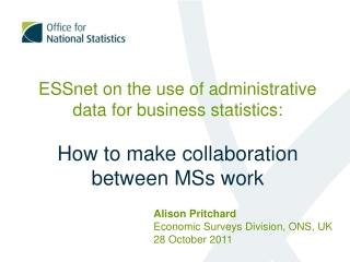 Alison Pritchard Economic Surveys Division, ONS, UK 28 October 2011