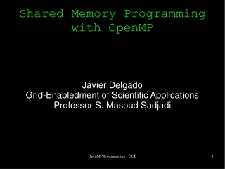 Shared Memory Programming with OpenMP