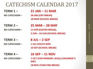 CATECHISM CALENDAR 2017