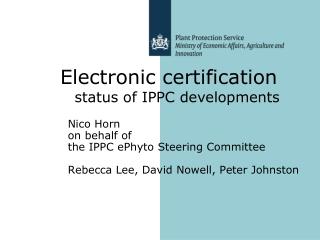 Nico Horn  on behalf of  the IPPC ePhyto Steering Committee