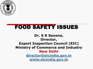 FOOD SAFETY ISSUES