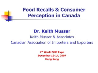Food Recalls & Consumer Perception in Canada