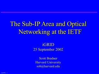 The Sub-IP Area and Optical Networking at the IETF iGRID 25 September 2002 Scott Bradner