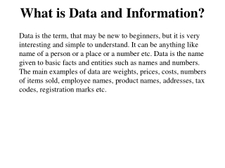 What is Data and Information?